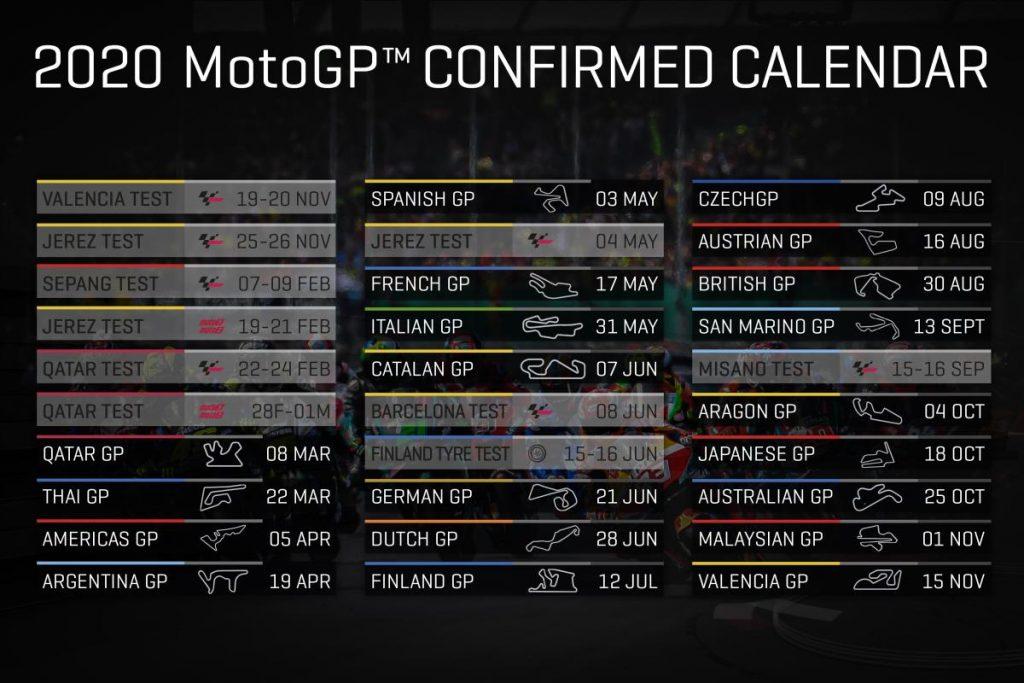 calendario moto gp 2020